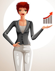 Attractive businesswoman full body portrait. Young red-haired