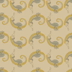 seamless pattern.sea horse.beige background