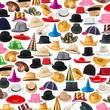 canvas print picture - Many hats arranged as background