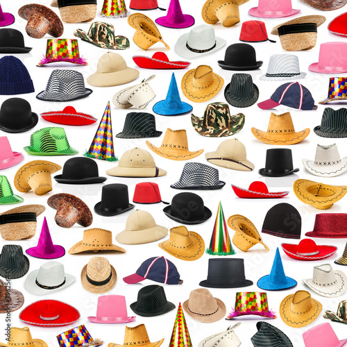 canvas print picture Many hats arranged as background