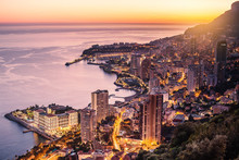 "Постер, картина, фотообои ""Evening view of Montecarlo, Monaco, Cote d"