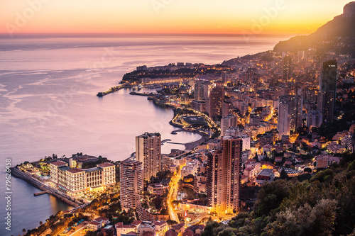 Spoed canvasdoek 2cm dik Luchtfoto Evening view of Montecarlo, Monaco, Cote d'Azur, Europe