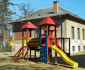 Jungle gym in the yard of the kindergarten