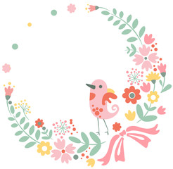 Vintage floral background with cute bird in pastel colors