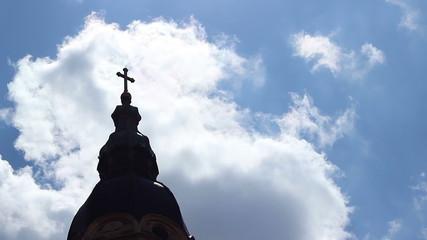 Church Cross Towards Sky Time Lapse