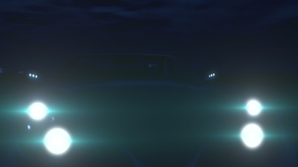 Silver Sports Car in the Night