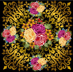 gold on black decorated square with color roses
