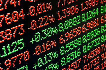 financial data on screen