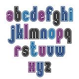 Binary striped distinct font, geometric bold bright typeface. Co poster