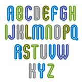 Rounded vivid striped distinct font, geometric bold bright typef poster