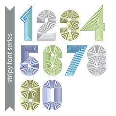 Stripy geometric numbers made with parallel straight lines. Ligh
