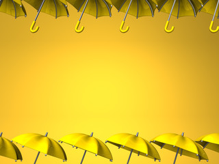 Yellow Umbrellas On Yellow Text Space