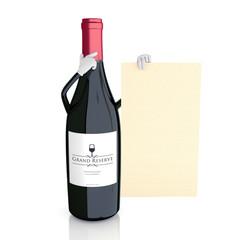 wine bottle showing wine list