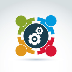 Vector illustration of gears - enterprise system theme, internat