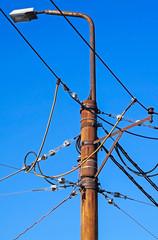 Electricity pylon with street light
