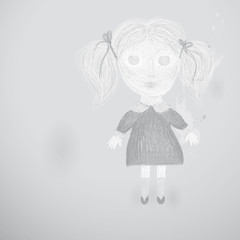 Creepy little girl / Children's monochrome drawing