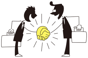 力強く握手するビジネスマン