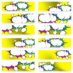 Retro pop art style comic book explosion web header footer colle