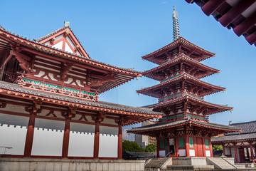Red pagoda in Shitennoji temple at Osaka, Japan