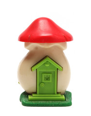 small toy house close up isolated on white