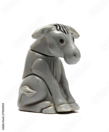 old donkey figurine isolated on white - 79630429