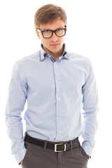 Handsome man in a shirt and glasses