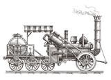 Fototapety train vector logo design template. steam locomotive or transport