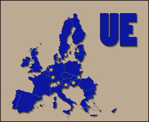 Map of European Union with Flag Background