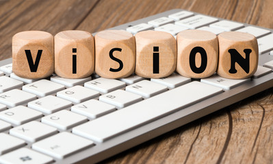 the word vision in wooden block dice