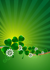 Holiday card on Patrick's Day. March 17. Striped bg with clovers