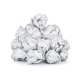 bunch of white crumpled paper on an isolated background