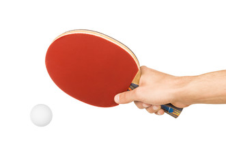 table tennis racket in hand on white