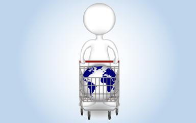 Monigote con carro de la compra y bola del mundo