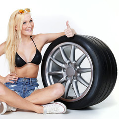 Girl with tire