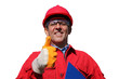 Smiling Industrial Worker Over White Background