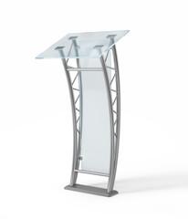 Glass modern podium isolated white background.