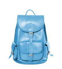Leather backpack standing isolated on white sky blue color