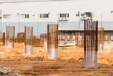 Construction site foundation pillars and columns