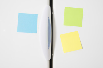 Post it notes on refrigerator