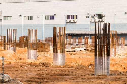 Construction site foundation pillars and columns - 79633030