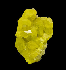 Native sulphur from Sicily, Italy. 9cm high. On black.