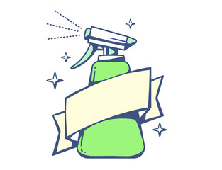 Vector illustration of green spray pistol with ribbon on light b