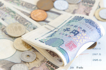Close - up Japanese yen banknotes and Japanese yen coin