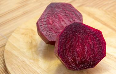 Raw beets cut in half