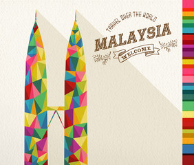 Travel Malaysia landmark polygonal monument