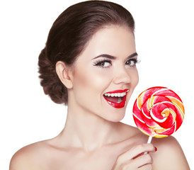 Attractive cheerful Woman with red lips makeup is smiling holdin