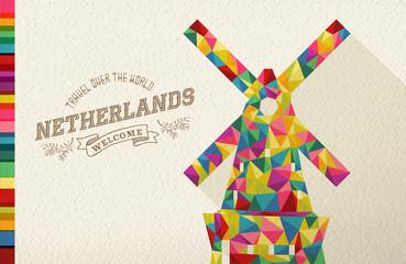 Travel netherlands landmark polygonal windmill