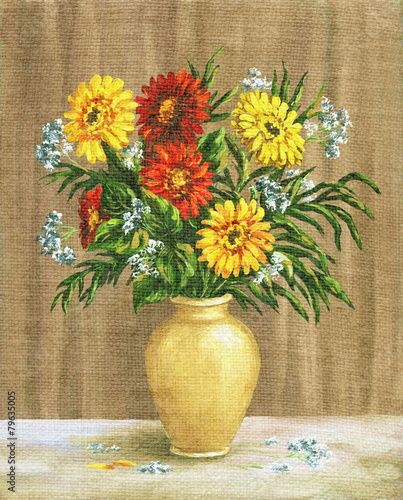 Obraz Painting Flowers Marigold in a Pot