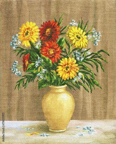 Fototapeta Painting Flowers Marigold in a Pot
