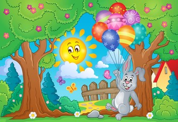Spring theme with rabbit and balloons